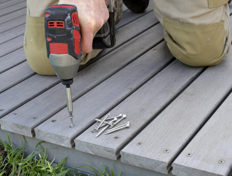 installation and repair grey composite decking